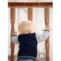 Roving Cove Safe Rail - 10ft x 3ft - INDOOR Balcony and Stairway Safety Net - ALMOND color -...