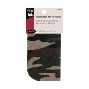 Bulk Buy: Dritz Iron On Camouflage Patches 5X5 2/Pkg Camo Green 55246-80 (6-Pack) by Dritz