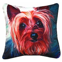 Manual Yorkie Style Paws and Whiskers Decorative Square Pillow, 18-Inch by Manual Woodworker