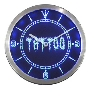 LEDネオンクロック 壁掛け時計 nc0292-b Tattoo Shop Neon Sign LED Wall Clock
