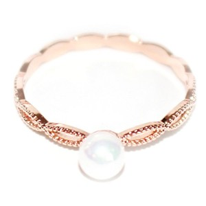 """Gieschen Jewelers """"ルル"""" 14Kローズ/ホワイト金メッキリングwith Simulated Pearl"""