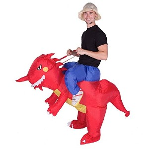 Wecloth Halloween Costume Inflatable Ride Red Dinosaur Unicorn T-Rex Halloween Party Dress Suit...
