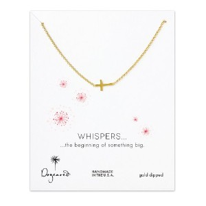 Dogeared Whispers Sideways Cross Gold Dipped Necklace