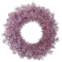 "Vickerman Tinsel wreath-unlit 30"" ピンク A147130"