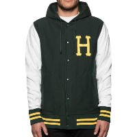 HUF Classic H Hooded Snap Varsity Jacket Forest Green S