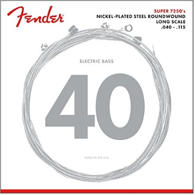 Fender エレキベース弦 7250 Bass Strings, Nickel Plated Steel, Long Scale, 7250-5L .040-.115