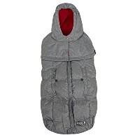 7 A.M. Enfant Pookie Poncho Footmuff-Heather Grey with Red Fleece Lining by 7A.M. Enfant