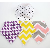 4 BayBee Bandana Drool Bibs, Girls Pack, Soft Cotton w/ Snaps, Cute Baby Gift by Baybee