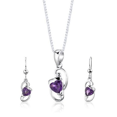 Sterling Silver Rhodium Finish 1.75 carats total weight Heart Shape Amethyst Pendant Earrings and...