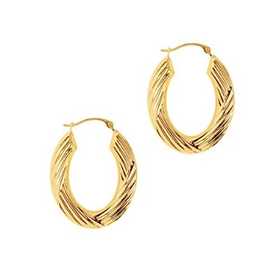 14K Yellow Gold Horseshoe Hoop Earrings, Diameter 25mm