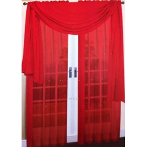3 Piece Red Sheer Voile Curtain Panel Set: 2 Red Panels and 1 Scarf by WPM