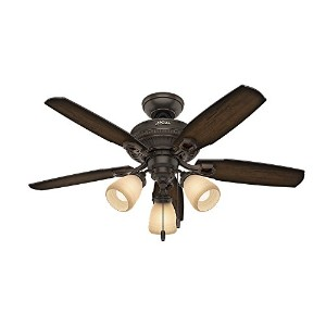 Hunter Fan Company 52233 Traditional Ambrose Three Light Onyx Bengal Ceiling Fan With Light, 44""
