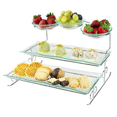 3 Tier Server Stand with Trays & Bowls - Tiered Serving Platter - Perfect for Cake, Dessert, Shrimp...
