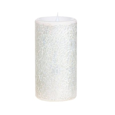 (White) - GiveU Led Pillar Candle, Mosaic Flameless Candle with Timer, Battery-operated, wedding...