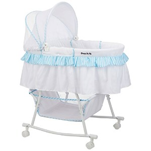 Dream On Me Lacy Protable 2 in 1 Bassinet and Cradle, Blue/White by Dream On Me