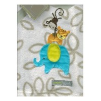 Elephant, Tiger & Monkey Tan Baby Blanket By Blankets & Beyond by Blankets and Beyond