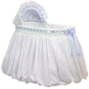 Baby Doll Bedding Pretty Ribbon Bassinet Bedding Set, Blue by BabyDoll Bedding
