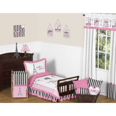 Pink, Black and White Stripe French Girls Toddler Bedding 5 Piece Eifell Tower Paris Set by Sweet...