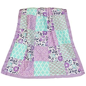 Zoe Purple, Lavender, Blue, Aqua Floral Patchwork Coverlet by The Peanut Shell