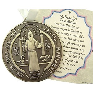 Zinc Alloy Saint Benedict Crib Medal with White Ribbon, 2 3/4 Inch by CB