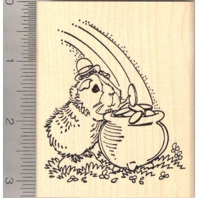 St. Patrick's Day Guinea Pig Leprechaun with Pot of Gold Rubber Stamp