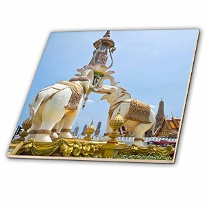 Danita Delimont – Statues、バンコク、タイ – Triple Elephant statue-as36 bth0007 – Brenda Tharp – タイル 12...