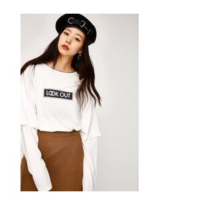 LOOK OUT LAYERED TSJ【マウジー/MOUSSY レディス Tシャツ・カットソー WHT ルミネ LUMINE】