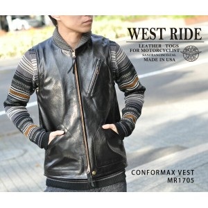 【WESTRIDE/ウエストライド】レザー防寒ベスト/CONFORMAX VEST★REAL DEAL