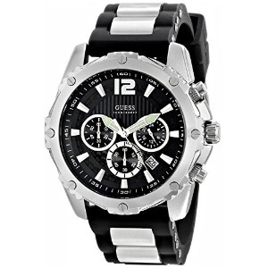 ゲス GUESS Men's U0167G1 Sporty Silicone & Metal Silver-Tone Chronograph Watch [並行輸入品]