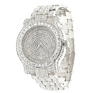Techno Pave Totally Iced Out PaveシルバートーンヒップホップメンズBling Bing Watch