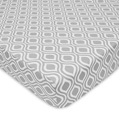 American Baby Company 100% Cotton Percale Fitted Crib Sheet, Gray Ogee by American Baby Company