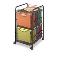 Safco Onyx Mesh Mobile Double File Cart Black by Safco