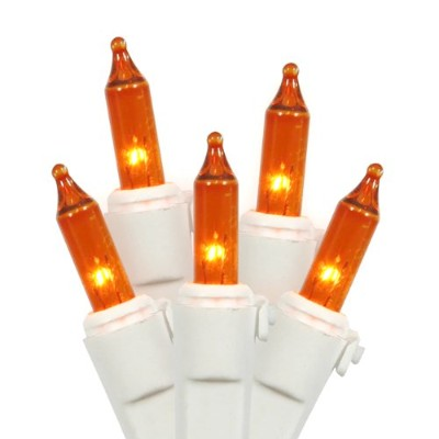 Vickerman 100 Lights Amber White Wire End Connecting Lock Set with 4-Inch Spacing and 33-Feet...