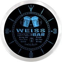 LEDネオンクロック 壁掛け時計 ncp1662-b WEISS Home Bar Beer Pub LED Neon Sign Wall Clock