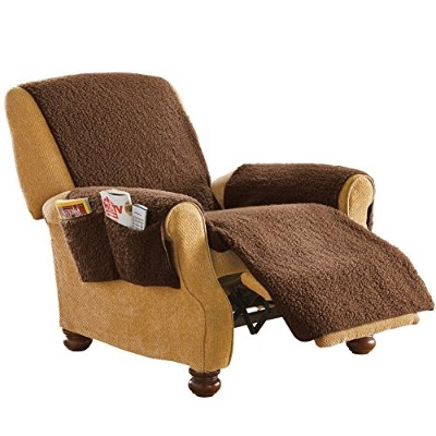 (Brown) - Protective Fleece Recliner Chair Cover Brown