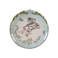 Fitz and Floyd English Garden Accent with Birds Dinner Plates, Baby Blue