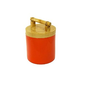 Bodhi Tree Collections Coral Spun Bamboo and Lacquer Canister, Small, Coral [並行輸入品]
