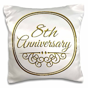 3dローズInspirationzStore – 8th Anniversaryギフト – ゴールドのテキストの結婚8年8 Eighth CelebratingのTogether – 枕ケース 16x16 inch Pillow Case pc_154450_1