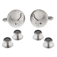 Silvertoneアメリカ空軍Air Force EagleデバイスCufflinks and Studs Formal Set