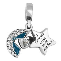 """LovelyJewelry """" I Love You To The Moon And Back """"のダングルチャームビーズチャームブレスレット"""