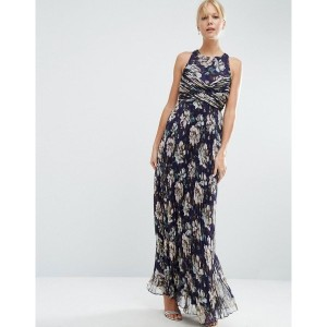 エイソス レディース ワンピース トップス ASOS WEDDING Pleated Maxi Dress with Ruched Detail in Vintage Floral Print...