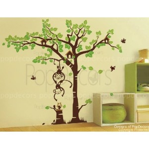 PopDecors - Playing monkeys and squirrel in the grassland - Beautiful Tree Wall Decals for Kids...