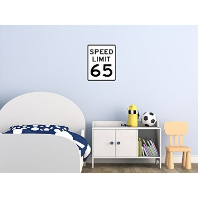 Street & Traffic Sign Wall Decals - Speed Limit Sign 65 mph - 12 inch Removable Graphic by...