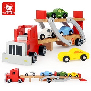 Top Bright変形可能Vehicle TransportデバイスWooden Toy Set with 1Truck and 4carsベビーおもちゃ
