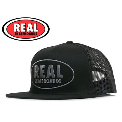 ☆REAL【リアル】RL1034 REAL SKATEBOARDS EXPOSED TRUCKER MESHCAP BLACK トラッカーメッシュキャップ 11165 [SNAPBACK...
