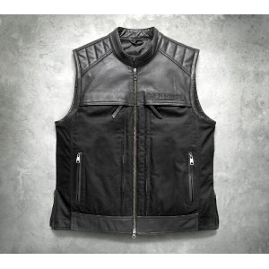 【98120-17vm】 Synthesis Pocket System Leather/Textile Vest S/M/L/XL ハーレーアパレル