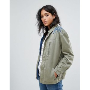 maison scotch army jacket with embroidered shoulder ジャケット メンズファッション