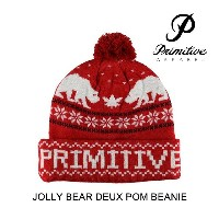 PRIMITIVE プリミティブ 帽子 ビーニー JOLLY BEAR DEUX POM BEANIE RED