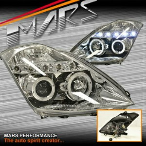 日産 フェアレディー Z ヘッドライト Clear LED DRL Angel Eye Projector Head Lights for Nissan 350Z Z33 03-05...