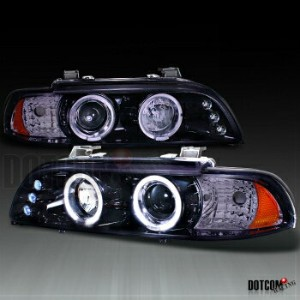 BMW ヘッドライト GLOSSY BLACK BMW 96-03 E39 525i 528i LED HALO RIM PROJECTOR HEADLIGHT SMOKE LENS...